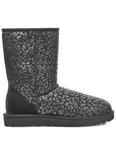 UGG Women's Classic Short Leopard Print Boots, Black, hi-res