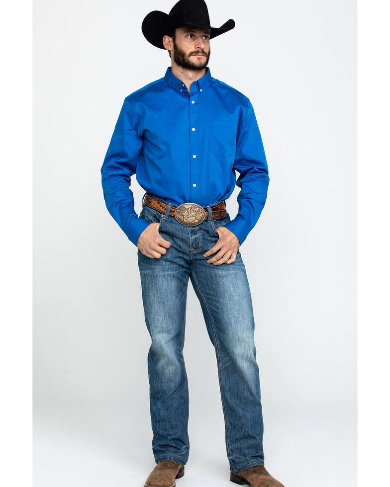 Cody James Core Navy Cobalt Solid Twill Long Sleeve Western Shirt , Navy, hi-res