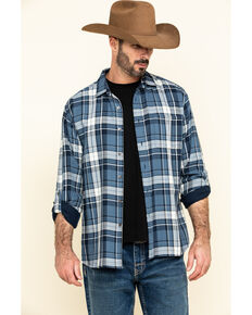 Pendleton Men's Blue Fairbanks Plaid Button Long Sleeve Western Shirt , Blue, hi-res