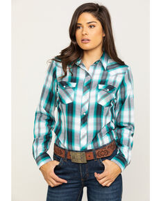 Roper Women's Blue Plaid Long Sleeve Western Shirt, Blue, hi-res