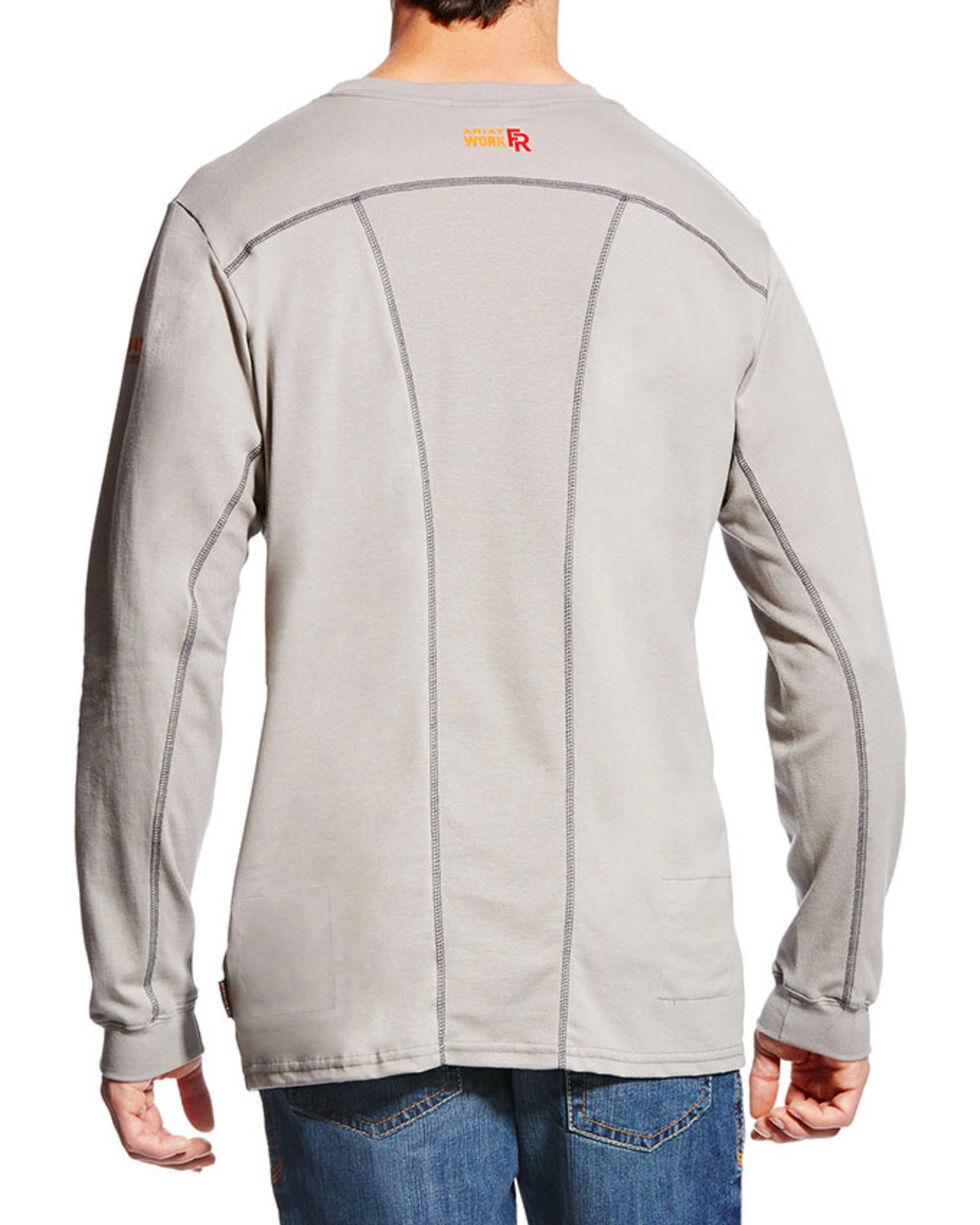 Ariat Men's Grey FR Crew Neck Long Sleeve Shirt - Tall, Grey, hi-res