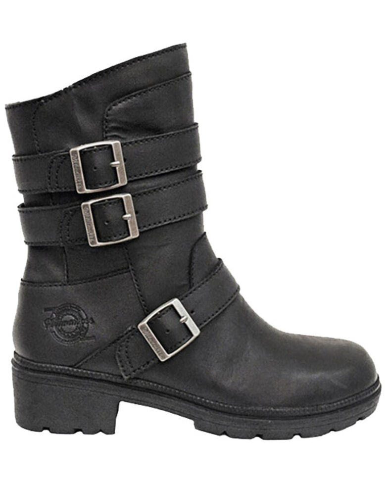 Milwaukee Motorcylce Clothing Women's Cameo Moto Boots - Round Toe, Black, hi-res