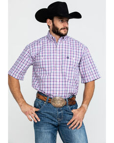 George Strait By Wrangler Men's Magenta Small Plaid Short Sleeve Western Shirt , Dark Pink, hi-res