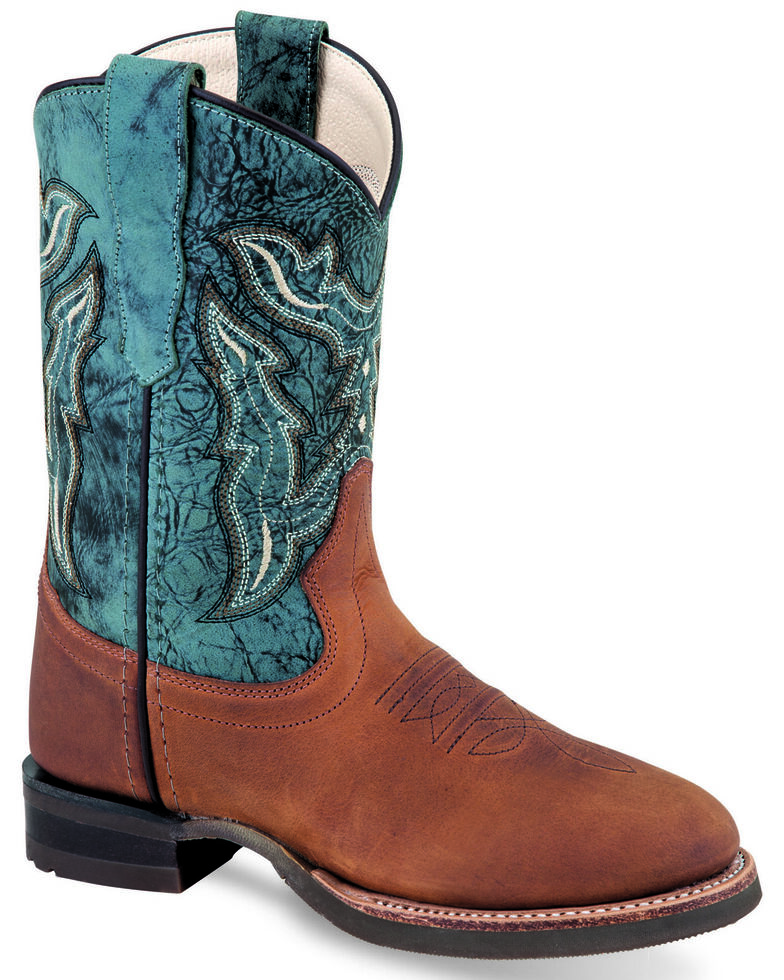 Old West Boys' Blue Shaft Western Boots - Round Toe, Chocolate, hi-res