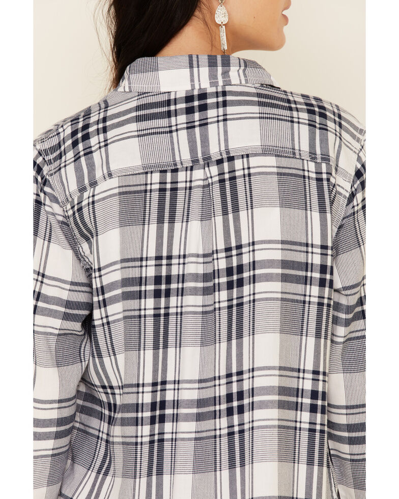 Flag & Anthem Women's Addison Popover Plaid Long Sleeve Button-Down Western Core Shirt , Navy, hi-res