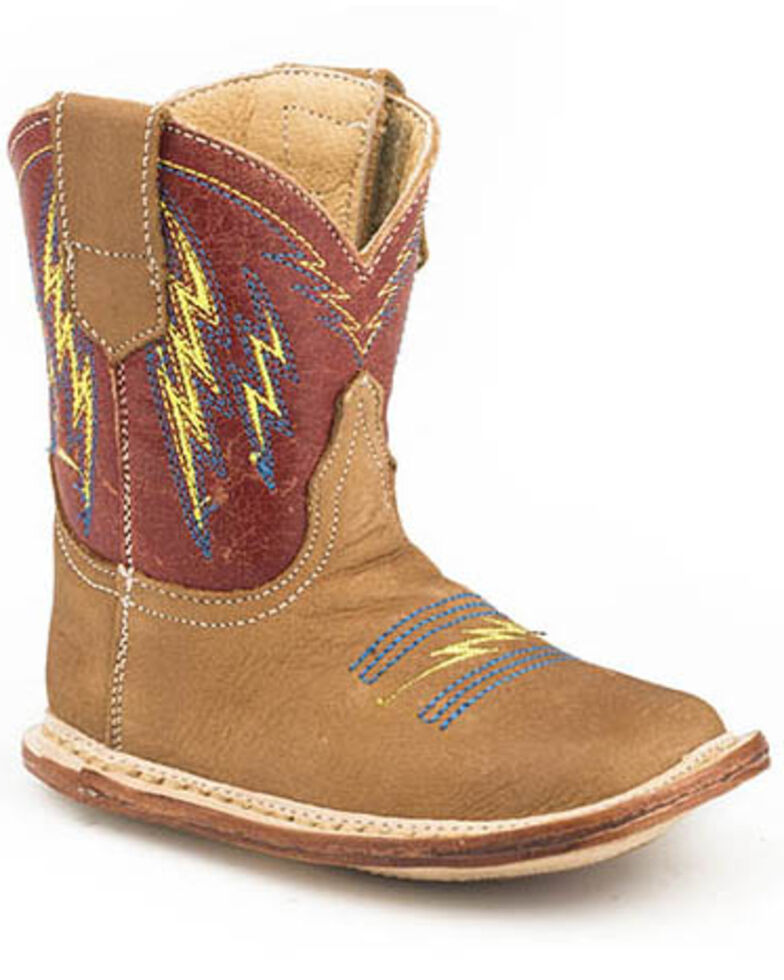 Roper Youth boys' Lightning Western Boots - Square Toe, Tan, hi-res