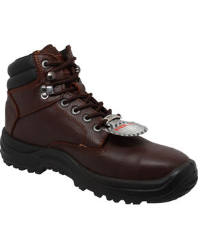 """Ad Tec Men's 6"""" Brown Tumbled Leather TPU Work Boots - Steel Toe, Brown, hi-res"""