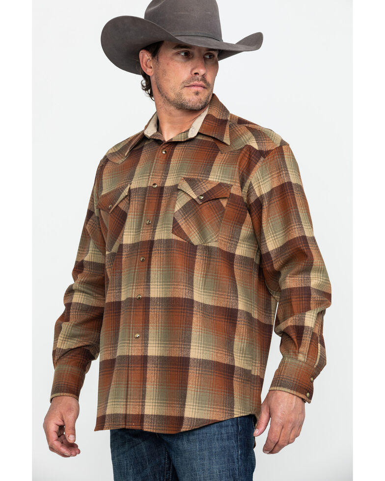 Pendleton Men's Brown Canyon Ombre Plaid Long Sleeve Western Flannel Shirt , Brown, hi-res