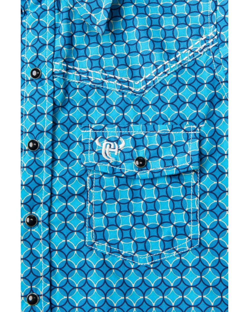 Cowboy Hardware Boys' Geo Print Long Sleeve Western Shirt , Blue, hi-res