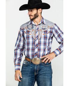 Roper Men's Multi Plaid Fancy Applique Long Sleeve Western Shirt , Blue, hi-res
