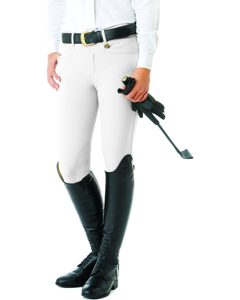 Ovation Women's Teen Celebrity DX Knee Patch Breeches, White, hi-res