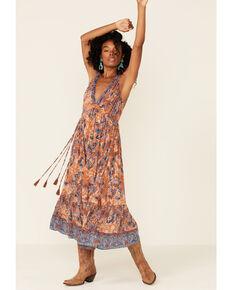 Angie Women's Rust Paisley Maxi Dress, Rust Copper, hi-res