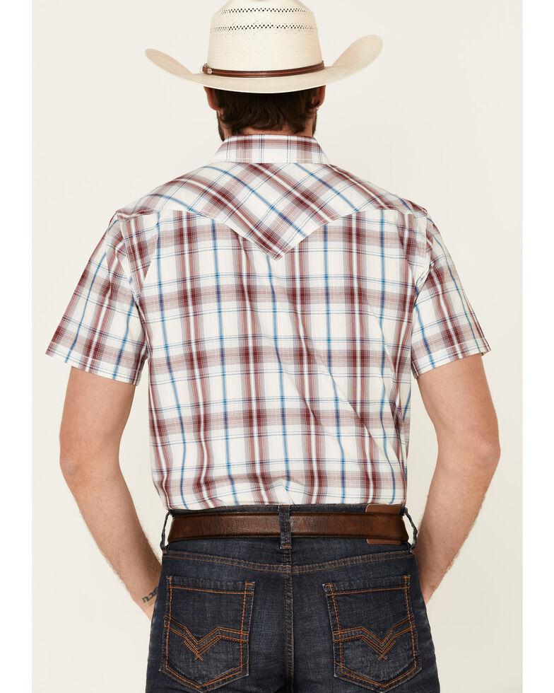 Cody James Men's Barrier Large Plaid Short Sleeve Snap Western Shirt - Big & Tall , Burgundy, hi-res