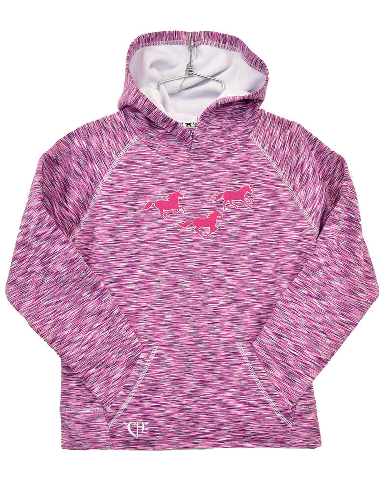 Cowgirl Hardware Toddler Girls' Marled Space Dyed Horse Graphic Hoodie , Pink, hi-res