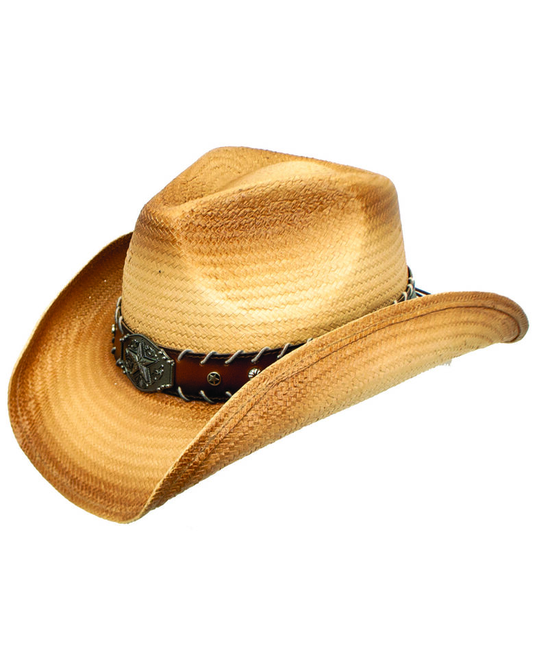 Peter Grimm Men's Caleb Straw Western Hat, Tan, hi-res