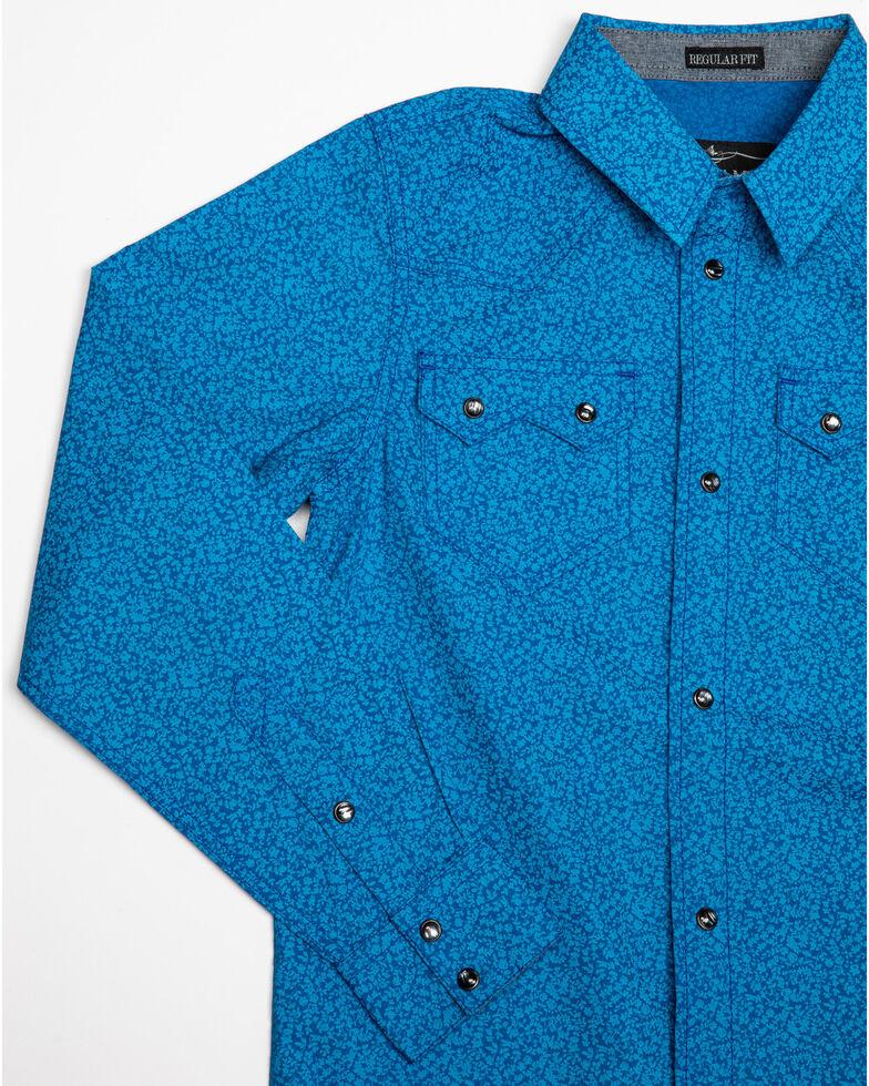 Cody James Boys' Larkspur Floral Print Long Sleeve Western Shirt , Blue, hi-res