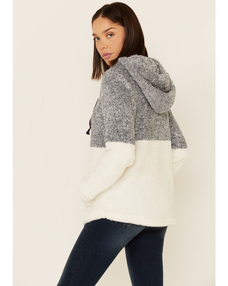 Hem & Thread Women's Navy Colorblock Fuzzy Hooded Pullover Sweater , Navy, hi-res