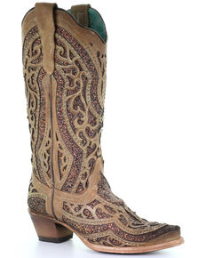 Corral Women's Golden Glitter Western Boots - Snip Toe, Gold, hi-res