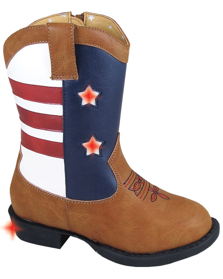 Smoky Mountain Toddler Boys' Austin Lights Western Boots - Round Toe, Tan, hi-res
