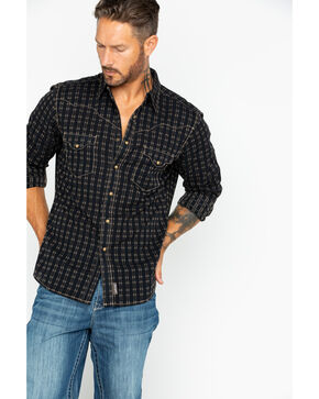 Wrangler Retro Men's Raw Plaid Long Sleeve Shirt , Black/tan, hi-res