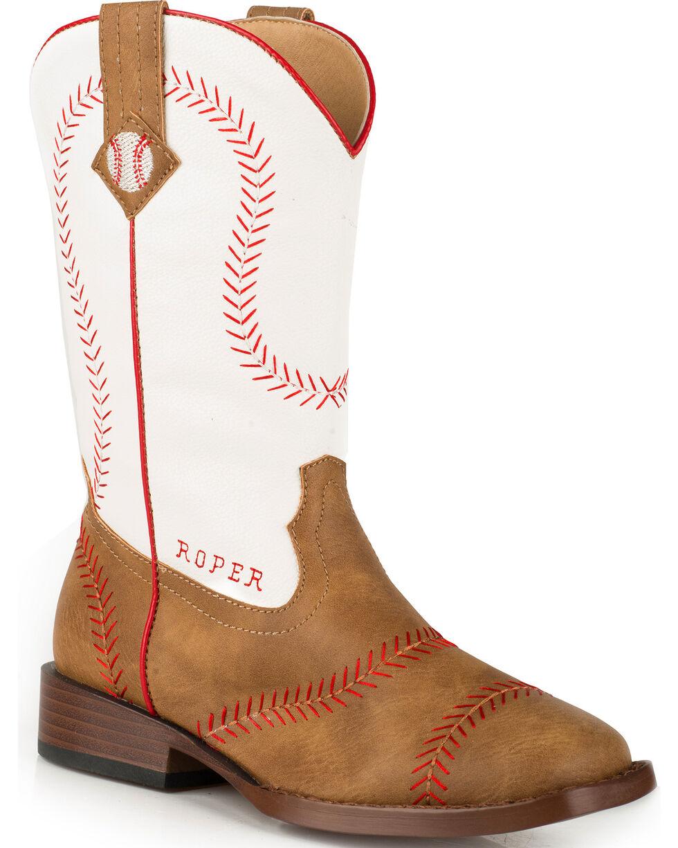 Roper Youth Boys' Baseball Western Boots - Square Toe , Tan, hi-res