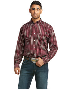Ariat Men's Wrinkle Free Oswin Geo Print Long Sleeve Button-Down Western Shirt , Burgundy, hi-res