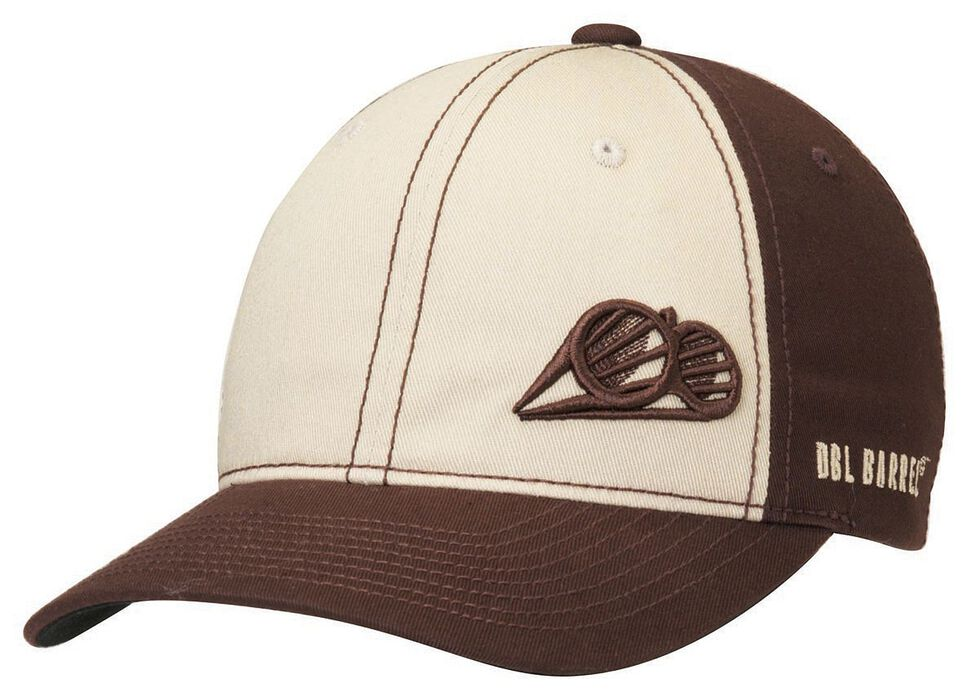 Double Barrel Logo Embroidered Cap, Brown, hi-res