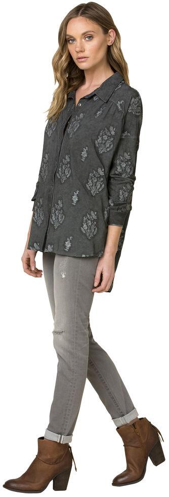 Miss Me Grey Tie-Dye Hi-Lo Long Sleeve Shirt, Grey, hi-res