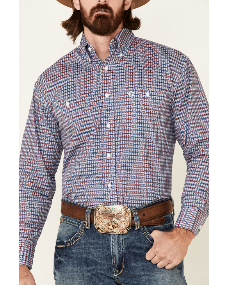 George Strait By Wrangler Men's Blue Diamond Geo Print Long Sleeve Button-Down Western Shirt , Blue, hi-res