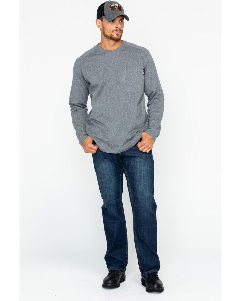 Hawx Men's Solid Pocket Crew Long Sleeve Work T-Shirt - Big & Tall , Heather Grey, hi-res
