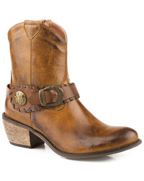 Roper Women's Ankle Harness Western Booties - Round Toe, Tan, hi-res