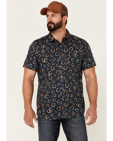 Pendleton Men's Solid Scout Long Sleeve Button-Down Western Shirt , Navy, hi-res