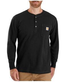 Carhartt Men's Black Relaxed Fit Long Sleeve Henley Thermal Work Pocket T-Shirt , Black, hi-res