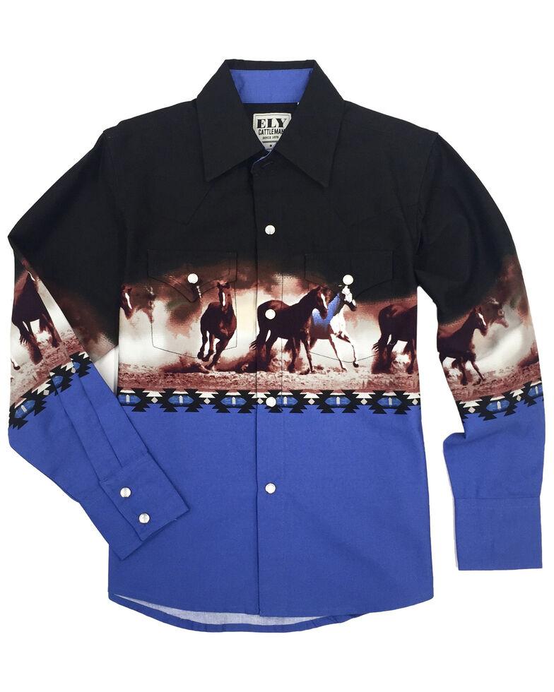 Ely Walker Boys' Blue Aztec Horse Border Print Long Sleeve Western Shirt , Blue, hi-res