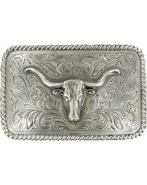 M&F Western Longhorn Filigree Belt Buckle, Silver, hi-res
