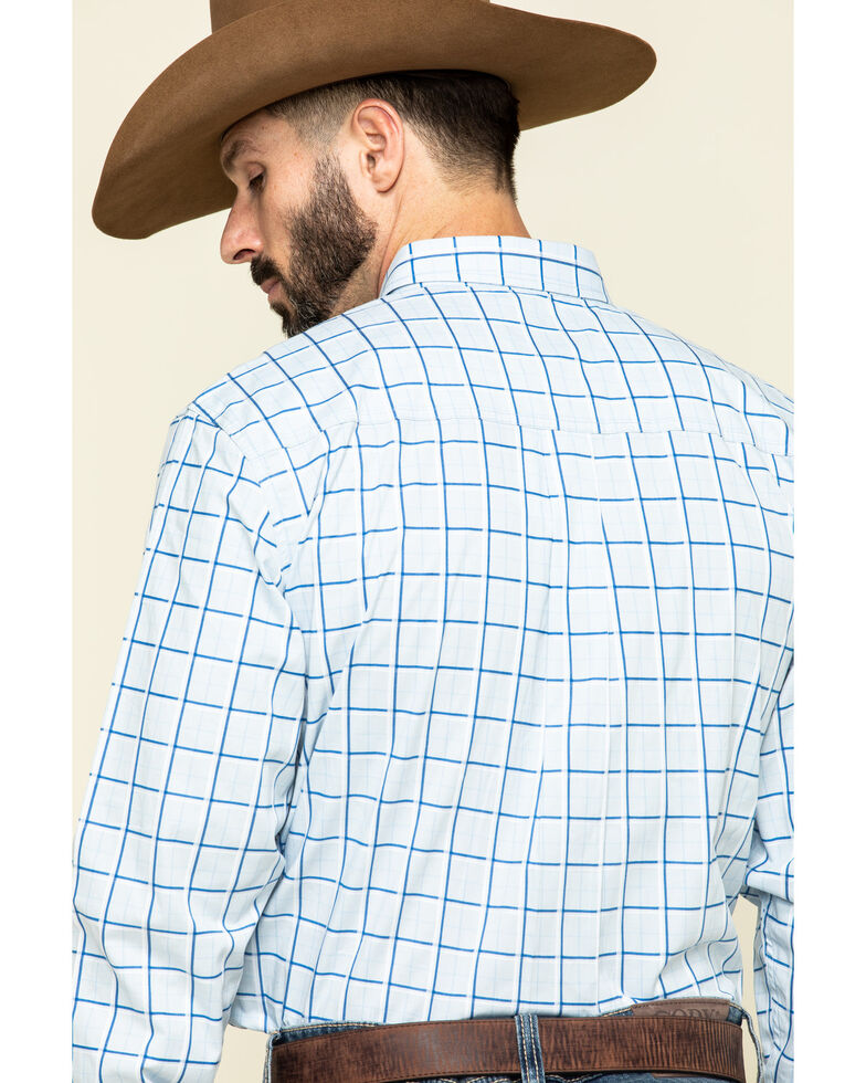 Cody James Core Men's Windowpane Plaid Long Sleeve Western Shirt , Light Blue, hi-res