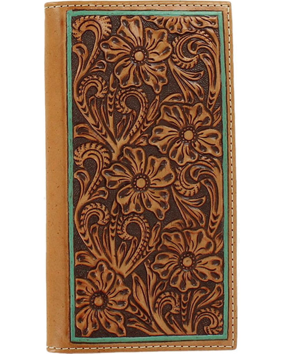 Ariat Men's Floral Embossed Border Rodeo Wallet, Tan, hi-res