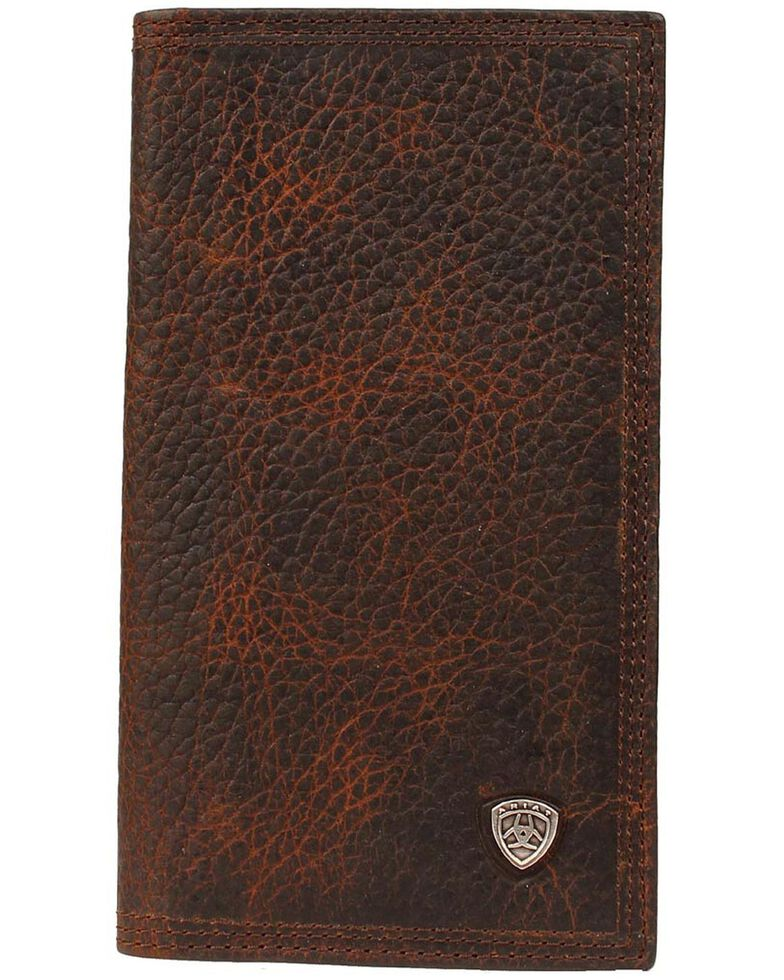 Ariat Logo Concho Brown Leather Rodeo Wallet, Brown, hi-res