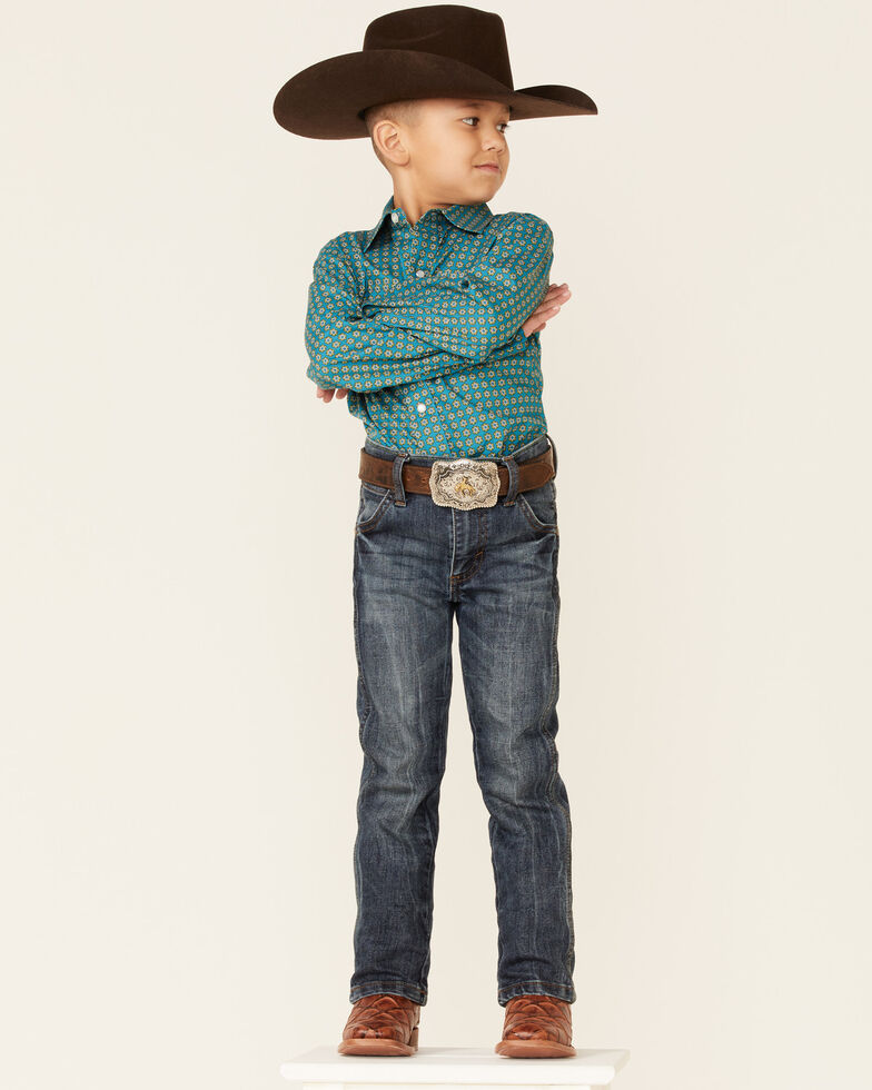 Amarillo Boys' Sweet Water Teal Geo Print Long Sleeve Button-Down Western Shirt , Teal, hi-res