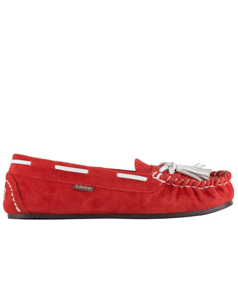 Lamo Footwear Women's Leah Faux Fur Tasseled Slippers - Moc Toe, Red, hi-res