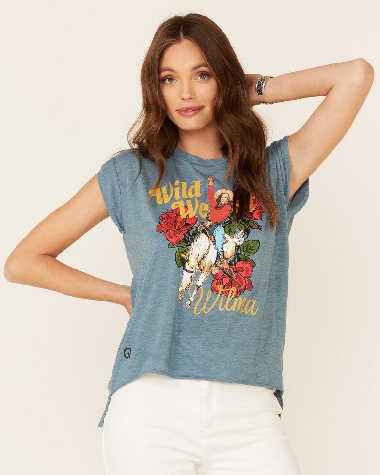 Rodeo Quincy Women's Wild West Wilma Graphic Short Sleeve Tee , Blue, hi-res