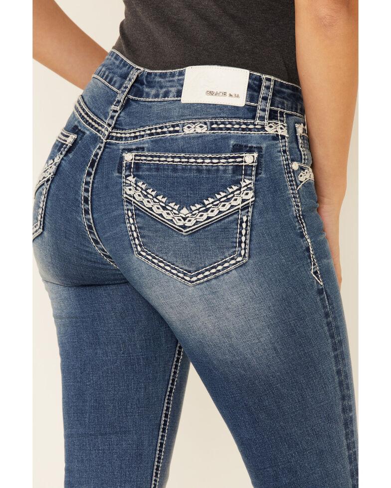 Grace in LA Women's Faded Border Print Bootcut Jeans, Blue, hi-res