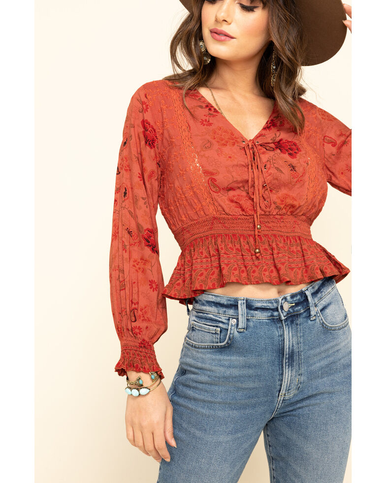 Angie Women's Floral Lace Up Smocked Peplum Crop Top, Rust Copper, hi-res