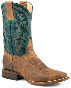 Roper Men's Gus Western Boots - Square Toe, Brown, hi-res