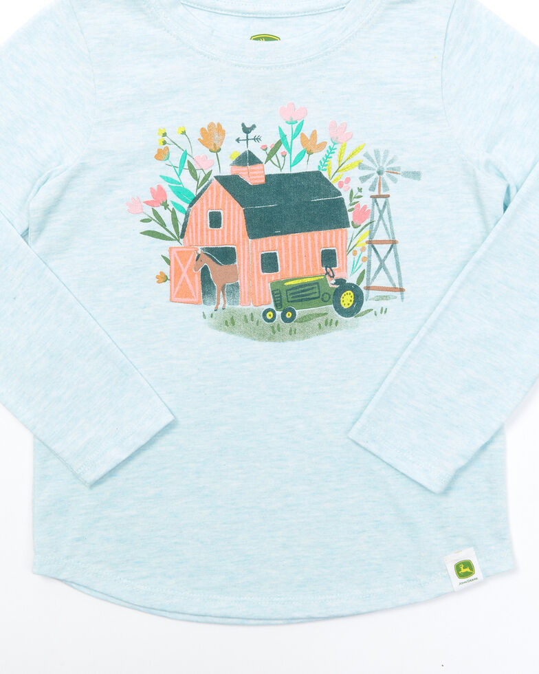 John Deere Toddler Girls' Blue Barn Graphic Long Sleeve Tee, Blue, hi-res