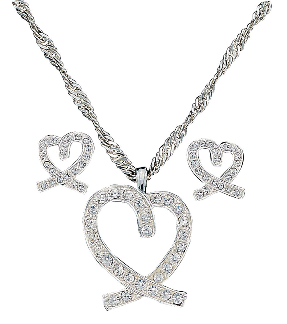 Montana Silversmiths A Caring Heart in Clear Rhinestones Necklace & Earrings Set, Silver, hi-res