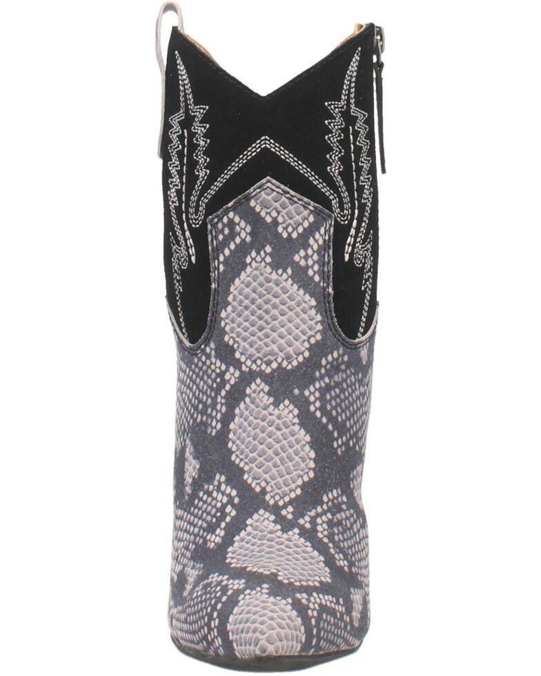 Dingo Women's Calico Snake Print Fashion Booties - Snip Toe, Black, hi-res