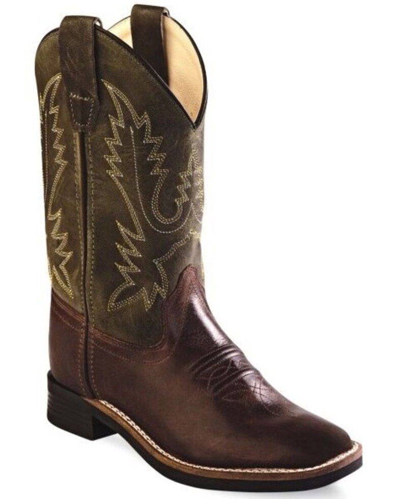 Old West Girls' Ultra-Flex Western Boots - Wide Square Toe, Chocolate, hi-res
