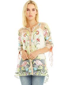 Aratta Women's Dream Girl Embroidered Button Front Shirt, Green, hi-res