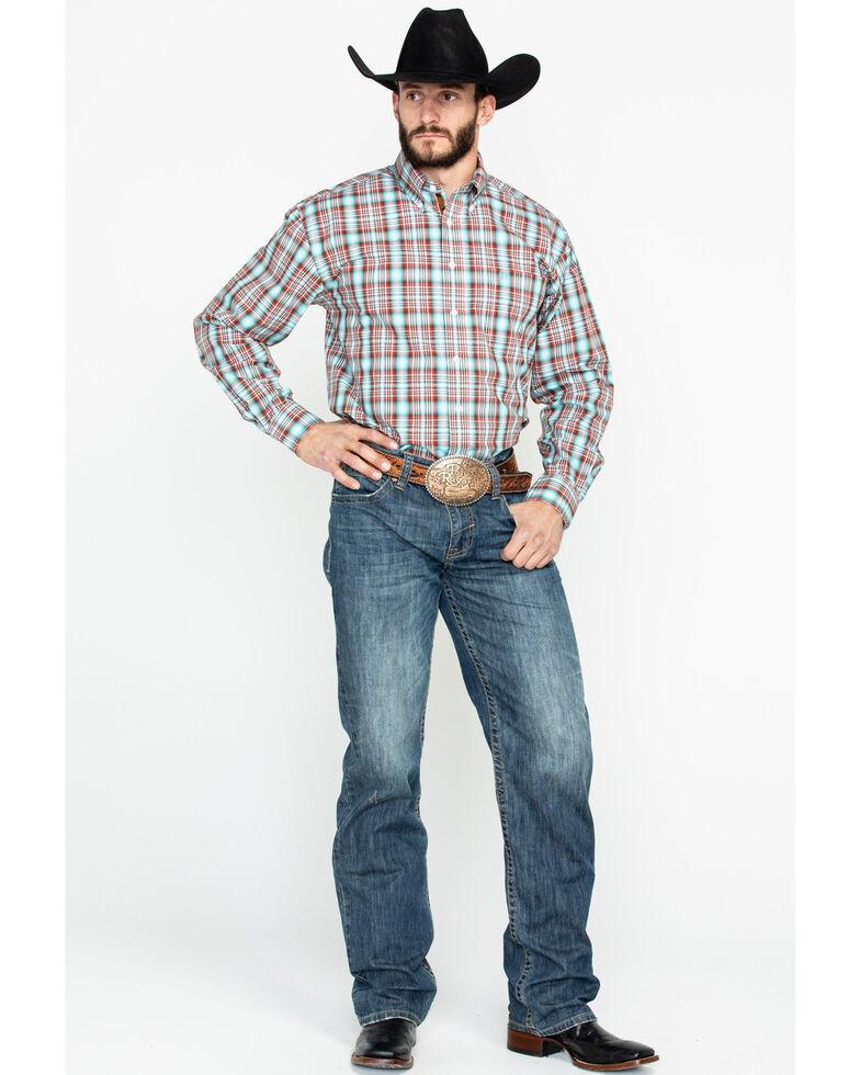 Panhandle Men's Randolph Vintage Ombre Plaid Long Sleeve Western Shirt , Aqua, hi-res